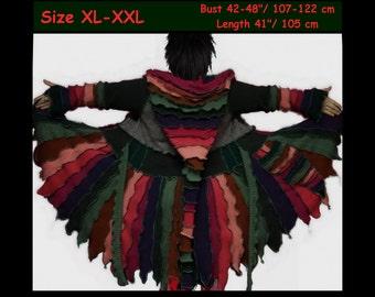 Sweater coat, Elf coat, women eLF sWEATER, size XL, size XXL, fairy, dress, women hoodie, sweater coat, patchwork, OOAK, dream coat
