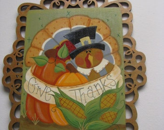 Turkey, Thanksgiving, wall decor, wall hanging, picture frame, picture, handpainted