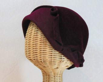 Sculptural Cloche Hat in Bordeaux Velour Felt ~ Cora ~ flapper, gatsby, Downton Abbey ~ handmade by Bonnet, your local Portland millinery