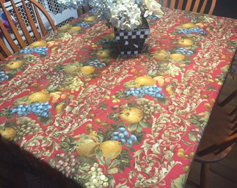 Vintage Maroon Printed Kitchen Dining Tablecloth for housewares and home decor, very shabby chic by MarlenesAttic