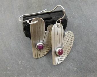 Asymmetrical Heart Ruby Earrings, Oxidized Sterling Silver, Natural Ruby Modernist Dangle Earrings