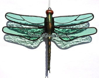 Stained Glass DRAGONFLY Suncatcher - Transparent, Light Sage / Sea Green Wings, Textured, USA Handmade Green Dragonfly, Dragonfly, Firefly