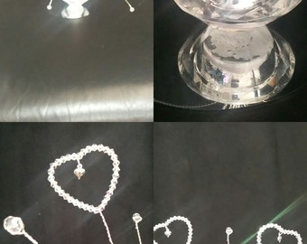 Crystal love hearts wedding table centrepiece