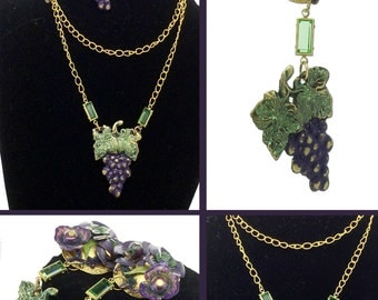 Unique and Gorgeous Wine/Grape Themed Necklace and Pierced Earrings Set.  Handcrafted.  Perfect for the Wine Lover!
