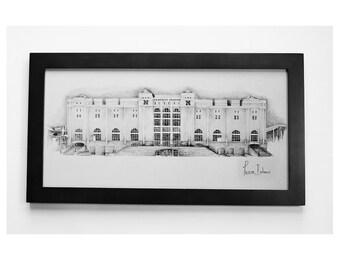 "Nebraska Huskers Stadium Lincoln NE Pencil Dawing framed  Art Print limited Edition 10""x20"" by Pierre Bolouvi"