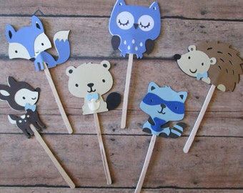 Blue woodland cupcake toppers- cupcake toppers- woodland theme- its a boy- baby shower cupcakes- boy woodland showers- woodland shower theme