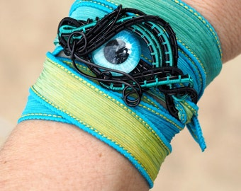 Blue Eye bracelet Silk ribbon wrist cuff/band Wire wrapped green blue turquoise cool gifts gift for her handmade scifi jewelry goth