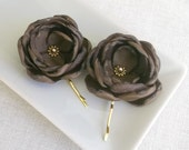 Chocolate brown hair flowers clips bridesmaid hair accessories sew on dress sash flower shoe clips hair pin grip barrette brooch gold finish