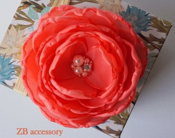 Coral Red silk flower Bridal Bridesmaids hair bobby pin alligator clip head piece dress sash accessory shoe clip pearls crystals girls gift