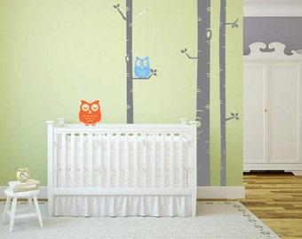 Birch Tree Vinyl Wall Decal Large Birch With 2 Owls Bedroom, Baby Room, Nursery, Boys And Girls Room, Home Decoration - ID701