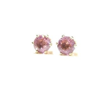 Spinel (Pink Spinel, Natural), 5mm x 0.51 Carat, Round Cut, 14 Karat 'Gold Fill' Post Earrings