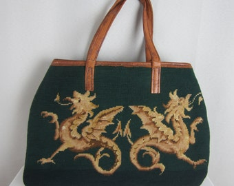 Vintage Dragons Wool Needlepoint Handbag Purse Spruce Green Gold Brown Brown Leather Handles Unique Bag