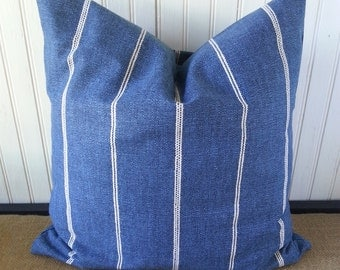Farmhouse Pillow - Sample SALE - Navy Blue Pillow - Blue Pillow Cover - Pillow Cover - Dark Blue Pillow - Navy Pillow - Blue Stripe Pillow