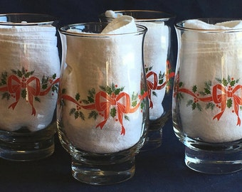 Libbey Tumblers Holly Garland with Red Ribbons & Bows (Set of Six)