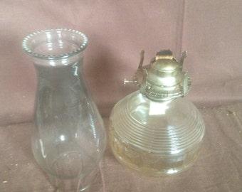 Vintage glass oil lantern/ vintage lamps/ rustic lamps/ oil burn lanterns