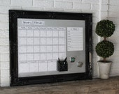 Large Magnetic Calendar with 4-5 Weeks Showing at all times. Black Vintage Horizontal Magnet Board.  You pick Calendar Color & Font.