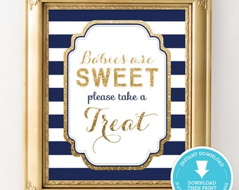 Navy and Gold Baby Shower Decor - Sweet Treat table sign - Gold Glitter Baby Shower - Boy Baby Shower - party sign - printable