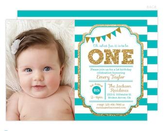 Turquoise 1st Birthday Invitation, Turquoise and gold invitation, Gold Glitter Girl Birthday Invitation, Printable Kids birthday invite