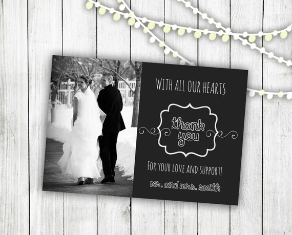 Wedding Photo Thank You Card: Digital File - 4x6
