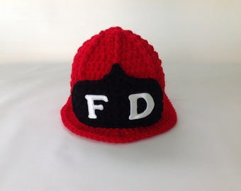 Baby Fireman Firefighter Hat in Red - Firefighter Baby Shower - Photography Prop - Baby Shower Gift