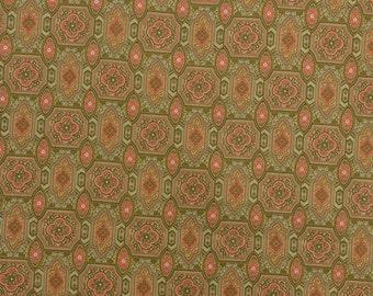 Vintage Cotton Fabric, Medallion Fabric, Orange and Green, Geometric Fabric, Vintage Fabric by the Yard, Retro Fabric - 1 Yard - CFL1745