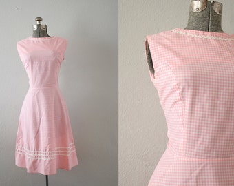1960's Pink Gingham Dress Size Small