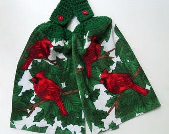 Hanging Hand Towels - Cardinals With Green Leaves Set of 2