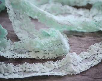 "Mint Lace Elastic, Lace Trim - Lace Stretch Elastic - 1"" Lace by the yard - Hair Elastic -Lace FOE - Stretch Lace"