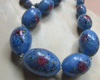 Vintage 1930s Art Glass Beads, Antique Beads, Blue Necklace, Jewelry with Roses, Estate Jewelry, Vintage Necklace, Romantic Vintage, Gifts