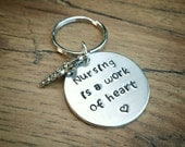 Nurse Gift, RN Gift, Stamped Keychain, Custom Keychain, Nurse Jewelry, Keyring, Heart Gift, Cardiology, Gift for Doctor, Gift for Nurse