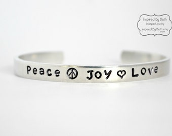 Peace Joy Love Handstamped Bracelet, Personalized Bracelet, Gift for Her, Cuff Bracelet, Hippie Bracelet, Inspirational Jewelry