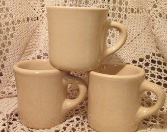 Lot of 3 Vintage Tan Tepco China Restaurant Ware Mugs / Coffee Cups