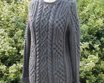 Handmade Cable Knit Celtic Knot Fisherman's Sweater in Charcoal Gray