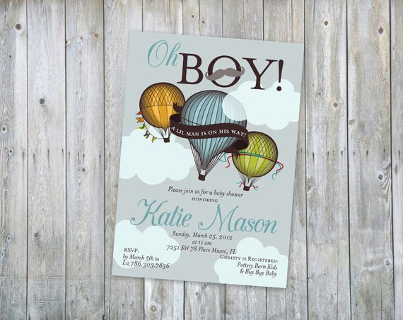 Hot air Balloon Baby Shower Invitation - Printable - Color customizable