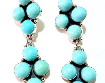 Navajo~CAROL WYLIE~ Blue Moon Turquoise~925 Dangle~Cluster Earrings