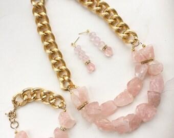 Rose Quartz Gold Chunky Jewelry Set