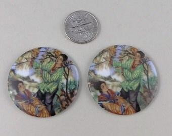 Vintage Asian women glass cabochon - 4mm x 35 mm. 2 pcs.