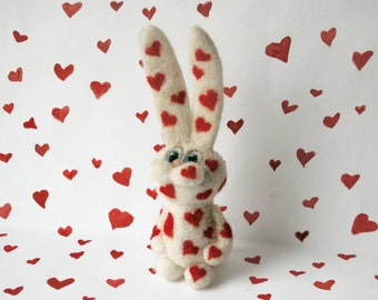 Valentine's day gift - needle felted hearted rabbit - miniature bunny - felt animal - wool - white, red