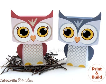 Two Owl Favor, Candy, Gift Boxes - Editable Text Printable PDF - INSTANT DOWNLOAD