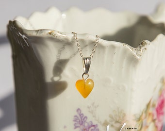 Tiny heart shaped natural Baltic amber pendant with inclusions, sterling silver necklace, natural amber, milky orange baltic amber heart