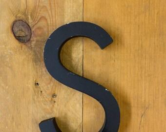 Vintage Letter S, Black Letter, Alphabet, S, Wall Art