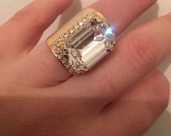 Swarovski crystal gold filled adjustable ring