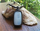 Reserved for Connie-Maria: Moonstone Macrame Wrapped Pendant Necklace - Brown Thread