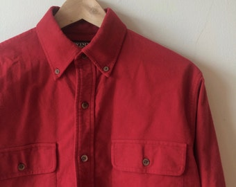 Lands End Chamois Shirt Jacket Red Vintage  Men's Small