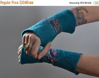 SUMMER SALE Wool Felted Arm Warmers - Felted Arm Warmers - Wool Gloves - Long Gloves - Gift for her - Winter Accessories