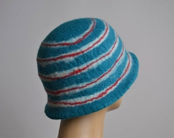 End Of Summer SALE Nuno Felted Hat - Felted Hats - Merino Wool Felted Hat - Winter Hats - Rainbow hat - Winter Hats  - Felted Hat
