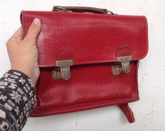 Danish Vintage red retro leather school back pack children