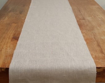 Natural linen table runner customisable rustic wedding decor