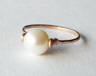 Freshwater Pearl Rose Gold Filled Ring - Pearl Ring - Rose Gold Ring - Stacking Ring - Rose Gold Jewelry - Wedding Ring