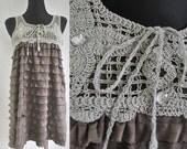 Vintage Women Brown Beige Tunic Mini Dress  Top Tank Crochet